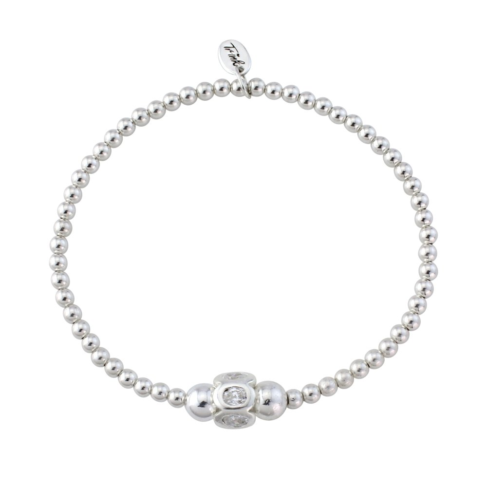 Trink Pearl Heart Sterling Silver and White Freshwater Beaded Bracelet Elastic