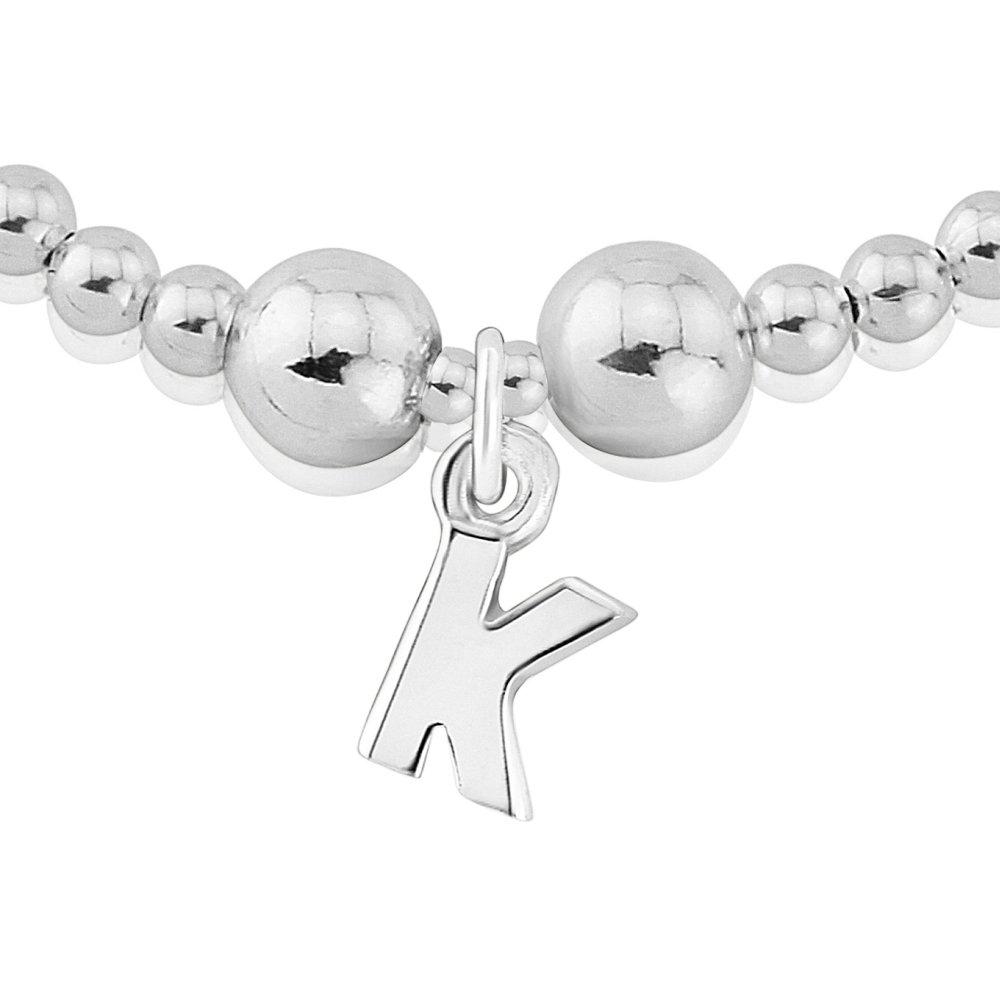 Trink Initial 'K' Letter Charm Sterling Silver Beaded Bracelet SGPUSAcDTB