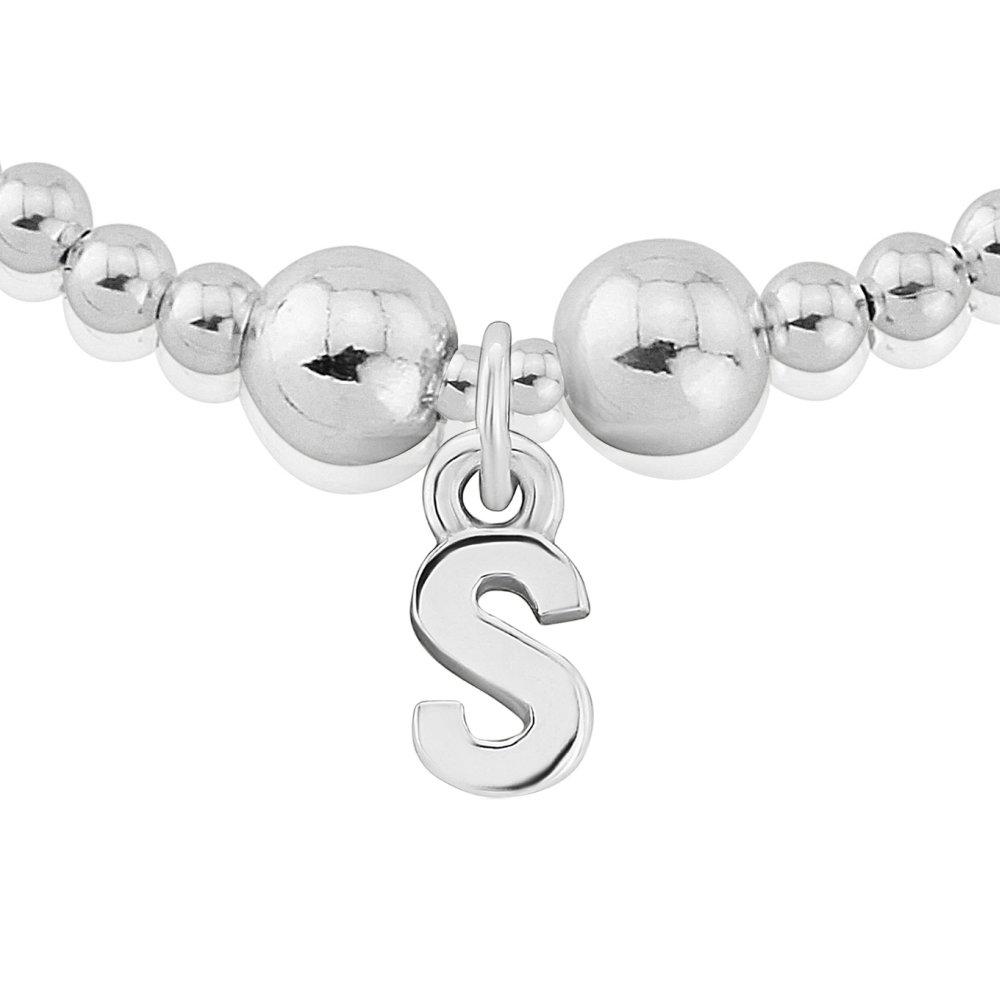 Trink Initial 'L' Letter Charm Sterling Silver Beaded Bracelet kfR8JqR0RE